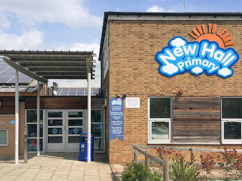 Entrance to New Hall Primary School